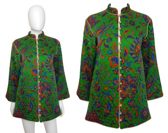 Yves Saint Laurent YSL Vintage Russian Collection Quilted Silk Jacket Green Gold 1970s US Size 6 Small