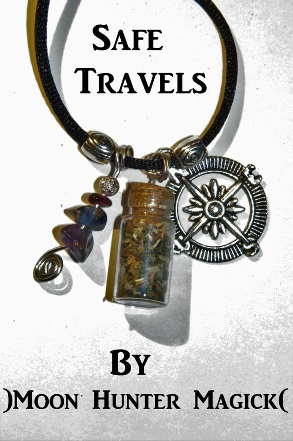 Safe Travels Charm Bottle Necklace Pagan Wicca Reiki Ritual Protection Amulet