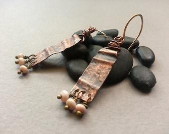 Copper And Pink Dangle Earrings, Rustic Handforged Copper, Pink Rhodochrosite Beads, Brass Ear Wires, Santa Fe Southwestern, Boho Bohemian