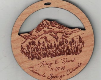 Laser Engraved Cherry wood custom memorial or wedding favor ornament - Quantity of 190