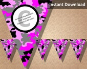 Pink Camo Camouflage Bunting Pennant Banner, Camo Camouflage Party Decorations, Printable Party Decorations, Instant Download