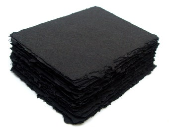Black handmade recycled cotton paper, 10 small sheets, 5.5 x 4.25 inch