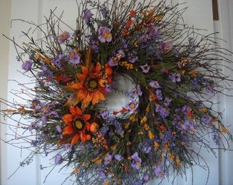 Fall wreath, fall door wreath, sunflower wreath, autumn wreath, rustic wreath, Thanksgiving wreath, fall decoration, front door wreath