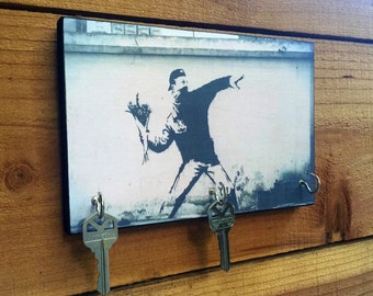 """BANKSY Key Holder """"THROWING FLOWERS"""" Key Holder & Wood Mounted Wall. Art Graffiti Art. Cropped Version Also Available"""