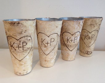 "Personalized Birch Bark Vase SET of 5 Discount Tall Rustic 9"" Vase