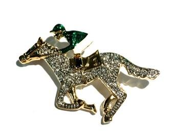 "Enamel Jockey on Horse Brooch, Equestrian, 1 3/4"", Green"