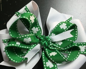 Luck of the Irish Shamrock Hair Bow