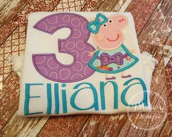Peppa Pig Birthday Custom Tee Shirt - Customizable -  Infant to Youth 140