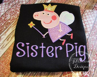 Peppa Pig Fairy Birthday Custom Tee Shirt - Customizable -  Infant to Youth 299
