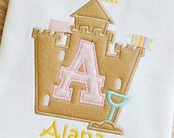 Sand Castle Monogram Beach  Birthday Applique shirt - Customizable -  Infant to Youth 99