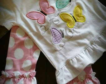 On Sale Now Butterflies! Baby, Toddler and Girls Easter or Spring Outfit- pick your favorite color pants!