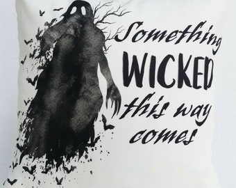 """Decorative Pillow Cover, Throw Pillow Cover, """"Something Wicked"""" Halloween Pillow Cover, 16 inch"""