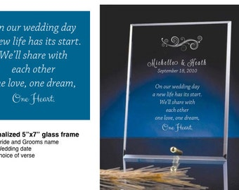 Crystal Edge Glass Frames personalized for Weddings
