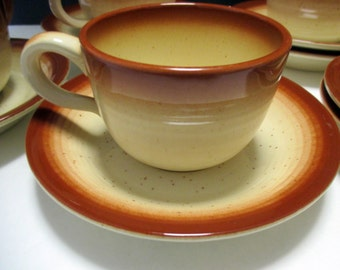 Vintage Franciscan Earthenware Country Craft Russet Brown Bands - Set of 4 Cups and 4 Saucers (2 sets available)