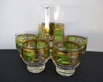 Culver Glass Prado Pattern Green Beverage Set - 22k  Gold and Green - Pitcher and Set of 4 Glasses
