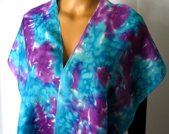 Hand Dyed Purple & Teal Habotai Silk Scarf. Marine Green and Purple Orchid Scarf. 11x60 inch Purple and Aqua Silk Scarves. Gift for Her.