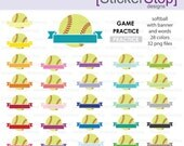 Softball Game Practice Reminder Clipart 28 colors, PNG Digital Clipart - Instant download - sports, softball, softball practice, tournament