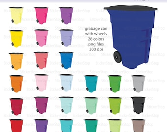 Garbage Can with Wheels Icon Digital Clipart in Rainbow Colors - Instant download PNG files