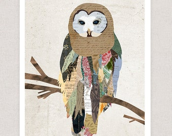 Owl Art Print - Owl Collage Poster Print - Fine Art Collage Illustration Print