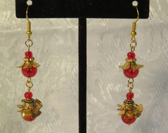 Red Tiered Glass Flower Earrings - Ruby Red Glass Beads