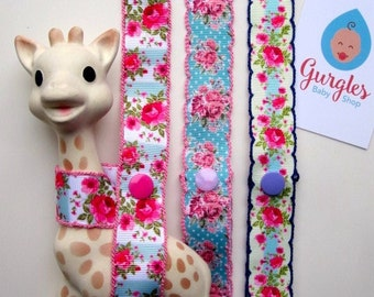 Crochet ribbon Sophie the Giraffe toy strap harness, saver strap, toy leash, Sophie pram clip, Sophie teether toy pram saver