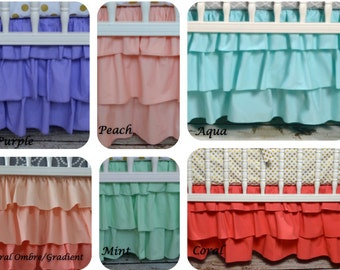 Three tiered skirt by Lavender Linens-pick your color! 3 or 4 sided, girl crib bedding, coral, mint, purple, ombre, aqua, peach,arissa
