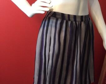 Vintage watercolor pinstripe skirt