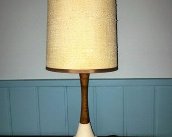 Danish #MIDCENTURYMODERN TABLE LAMP petite size in teak and ceramic 1960s