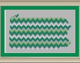 Chevron stripe Pennsylvania silhouette: cool cross-stitch pattern