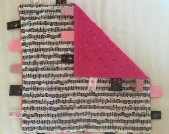 Handmade Baby Tag Security Sensory  Blanket - Musical Notes - Pink Black White Music Notes