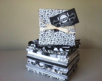 Black, White and Grey Cloth Napkins + Coordinating Reversible Fabric Coasters, Set of 8, by CHOW with ME