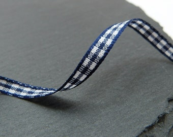 Navy Blue and White Check Gingham Ribbon 5mm Wide Berisfords Per Metre
