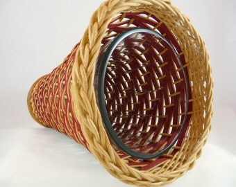 Hand Woven Basket with Glass Vase