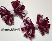Maroon Wine Gingham Check Hair Bow and White Back to School Boutique Uniform Accessory Piggy Tails