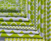 Lime Green and White, Fat Quarter Fabric Bundle, Riley Blake Cotton, Sewing Material, Quilting, Houndstooth, Chevron, Polka Dot, Quatrefoil