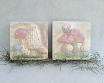 Retro Mushroom Ceramic Tiles Pair Two Vintage Pastel Fungi