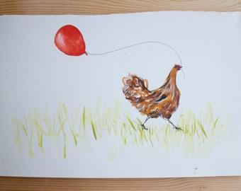 Chicken & Balloon - original artwork