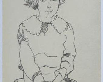 "Schiele Egon 60, Lithograph,""Seated Girl 'Maria Steiner'"""