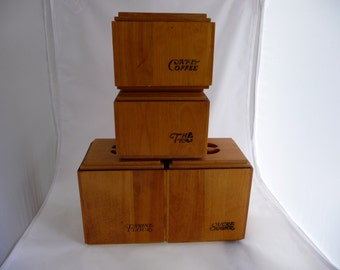 Retro Wooden Canister Set By Baribomaid