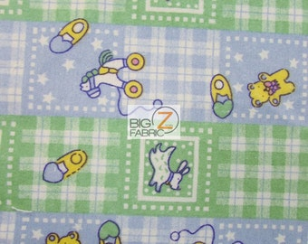 """Baby Playtime Print Flannel Fabric - GREEN/BLUE - 45"""" Width - Sold By The Yard Poly Cotton Clothing"""