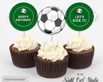 Soccer Cupcake Toppers-Soccer Birthday-Soccer-Fútbol-Let's Kick It-Printable-Instant Download