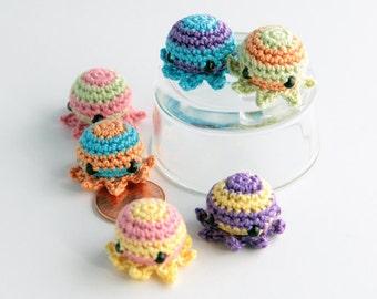 MiniPus (Striped) - Miniature Octopus Amigurumi Doll Plush with Optional Key Chain or Phone Charm Attachment