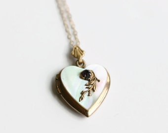 Vintage Mother of Pearl Gold Filled Locket, Heart Locket Necklace, Circa 1940's