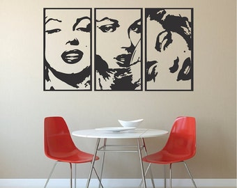 Marilyn Monroe Panel Wall Decal, Marilyn Monroe Vinyl, Marilyn Monroe Panel Wallpaper, Removable Hollywood Actress Decal, Actress Art, a79