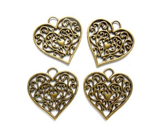 4 Antique Bronze Filigree Heart Charms - 21-13-6