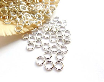 100 Silver Plated Jump Rings 5mm - 7