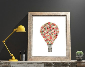 DIGITAL DOWNLOAD // Floral Hot Air Balloon  // Wall Decor, Home Decor, Print, Poster, Gift, Inspirational