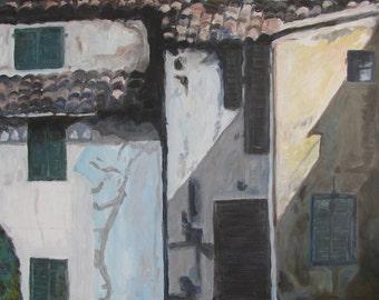 "Original architectural Acrylic painting Palma de Majorca Spain Buildings Colorful Landscape 39.4""X27.5"" Available giclee and paper prints"