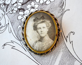 Victorian Portrait Brooch | Rare Antique Photograph Brooch | Mourning Jewelry | Victorian Lady | Vintage Photo Brooch
