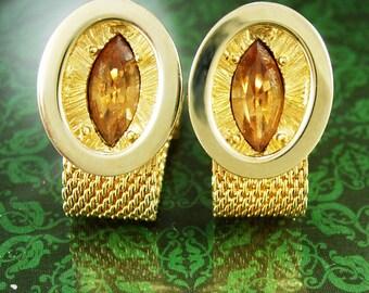 Vintage Cufflinks Golden TOPAZ Elegance Large Faceted Rhinestones Wrap Around Mesh Sunday Dress Wear cuff links Swank wedding formal wear